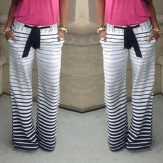 Casual Low-Waisted Drawstring Striped Loose-Fitting Women's Pants Pants | RoseGal.com Mobile