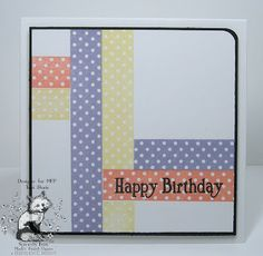 handmade birthday card ... luv the arrangement of strips of polka dot papers ... sentiment stamped right on the paper Sweet Pea's Story: An Inspired Saturday  ... fun look!!