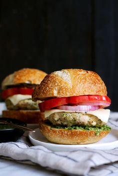 Chicken Burgers With Spinach, Pesto, and Mozzarella