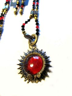 Red Gold & Black Star Burst Magnetic Necklace Removable Pendent Matching Earrings Handcrafted