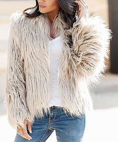 111c42b9319d Look what I found on  zulily! Grey Faux Fur Open Coat - Plus Too