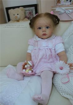 Stunning Reborn Doll from a Russian artist, I think the name on the photo reads Anastasia Gangaio but I can't find anything on her, wish I could, this doll is AMAZING!