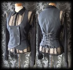 Goth Navy Blue Double Breasted KINDRED Lace Up Corset Waistcoat 12 14 Victorian - £24.00