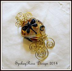 Wirewrapped  Glass Dragonfly Pendant by GlendasJewelleryOz on Etsy, $35.00