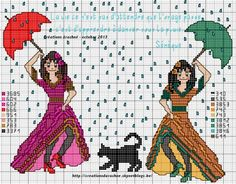 femme - woman - broderie - embroidery - dance  - Point de croix - Blog : http://broderiemimie44.canalblog.com/