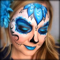 Face Paint Kryvaline Professional Face and Body Paint Lagoon with Lisa Joy Young Matching Design Sugar Skull. Adult Face Painting, Skull Painting, Face Painting Designs, Body Painting, Sugar Skull Face Paint, Sugar Skull Makeup, Sugar Skulls, Blue Face Paint, Helloween Make Up