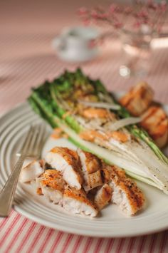 Grilled Catfish with Charred Romaine & Chipotle Caesar Dressing