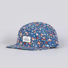 Less Simple Logo Camp Cap Flower Pattern Navy