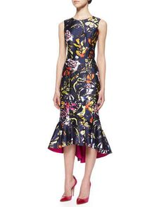 Oscar de la Renta	 Abstract Floral-Print High-Low Flounce Hem Dress