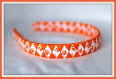 Clemson Auburn  Orange White and Tiger Paw Woven by KatiebugBows, $7.00
