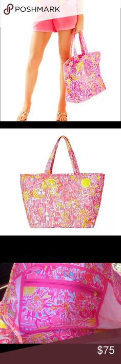 Lilly Pulitzer palm Beach tote - kinis in the keys BNWT - sold out print - make me an offer! Lilly Pulitzer Bags