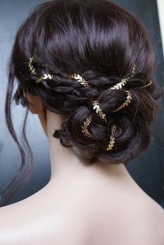 Bridal headpiece in Gold Wedding Hair Accessory for back of