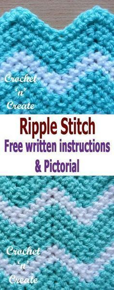 Crochet Afghans Ideas Crochet ripple stitch pictorial, also called chevron crochet, made using several colors it can be quite stunning, it is a popular stitch to use for baby blankets, afghans or dishcloths etc. Crochet Ripple Blanket, Crochet Stitches For Blankets, Crochet For Beginners Blanket, Crochet Afghans, Tunisian Crochet, Easy Crochet, Double Crochet Baby Blanket, Crocheted Baby Blankets, Crotchet Blanket