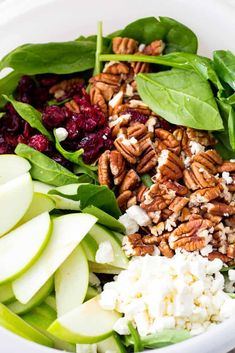 Cranberry Apple Pecan Salad with Creamy Poppyseed Dressing – The Recipe Critic Cranberry Walnut Salad, Apple Walnut Salad, Cranberry Salad Recipes, Vegetarian Salad Recipes, Healthy Recipes, Vegan Vegetarian, Thanksgiving Salad, Cheat Meal, Soup And Salad