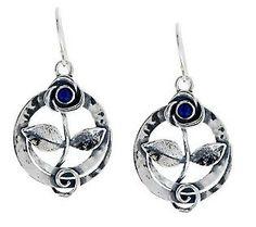 Or Paz Sterling Gemstone Floral Design Dangle Earrings