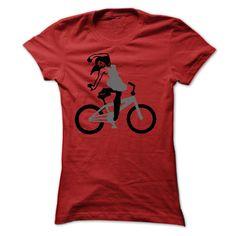 Girl on Bike T-Shirts, Hoodies. BUY IT NOW ==► https://www.sunfrog.com/Sports/Girl-on-Bike-2233-Red-32633966-Ladies.html?id=41382