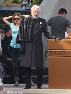 Several new images from the set of 'The Hunger Games: Catching Fire' show Donald Sutherland in character as President Snow.
