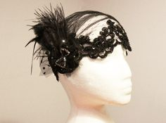 20s Inspired Black Feather Cap Swiss Dots Lace Netting Polka Dot Tulle - Beaded Lace The Great Gatsby Hat Art Deco Flapper