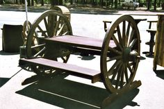 Interesting Wagon Wheel Bench