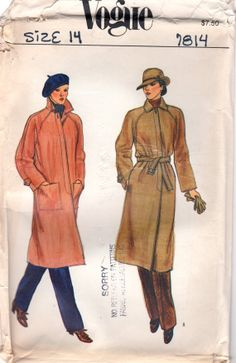 Vogue 7814 1980s Loose Fitting Misses Lined TRENCH COATwomens vintage sewing pattern  by mbchills,