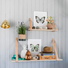 Wooden Shelf with Leather Strap - Cabinets & Shelving - Furniture - Furniture