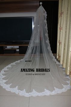 Wedding Veil - 1 Layer French Alencon lace edge Cathedral Length Wedding Veil with Metal Comb- Custom made long lace edge wedding veil