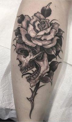 75 Amazing Leg Tattoos for Women to Get Inspired - Top Tattoos . - 75 Amazing Leg Tattoos for Women to Get Inspired – Top Tattoos 75 Amazing Leg Tatt - Skull Tattoo Flowers, Skull Rose Tattoos, Skeleton Tattoos, Flower Skull, Flower Tattoos, Leg Tattoos Women, Top Tattoos, Black Tattoos, Body Art Tattoos