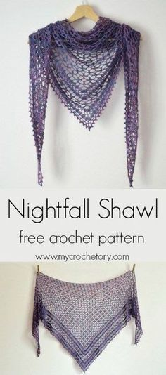 Treat yourself to a little bit of luxury and make your own Nightfall Shawl. It's a wonderful, gentle triangle shaped shawl that has been designer to be crochet in lace weight yarn. Crochet Lace Scarf, Crochet Shawl Free, Crochet Shawls And Wraps, Crochet Scarves, Crochet Hats, Lace Shawls, Tunisian Crochet, Crochet Dresses, Knitted Shawls