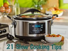 21 Slow Cooking Tips! Learn how to thicken soups & stews without cornstarch or flour. Brilliant idea!!