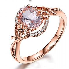Oval Morganite Engagement Ring Pave Diamond Wedding 14K Rose Gold 6x8mm,Floral. Available at www.Brandinia.com