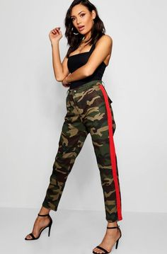 1cbfd10afe1d Side Stripe Camo Cargo Trousers - boohoo how to wear, how to style, outfit