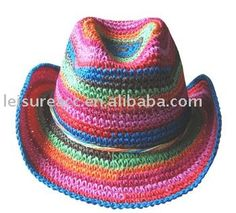 crafting ideas inspiration I like the colors here but would make it a sunhat --- Cowboy Hat Crochet Pattern Crochet Patterns Crochet Cowboy Hats, Crochet Adult Hat, Mode Crochet, Crochet Motifs, Crochet Baby Hats, Crochet Beanie, Knit Or Crochet, Crochet Scarves, Crochet For Kids