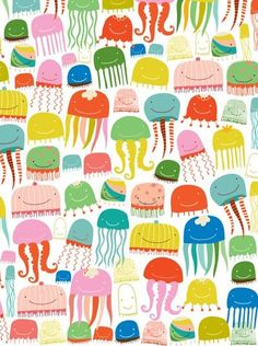 jellyfish + octopus - ecojot, 2012 [link to series of surface pattern designs from jan 2012]