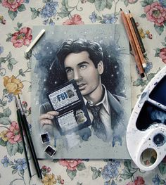 Fox Mulder The X-Files Traditional Art Original Watercolor