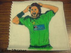 Boom Boom Afridi the hero of Cricket. Pakistan ki jaan. #Handdrawn #FabricColorsOnCloth #AzaadiKeRung