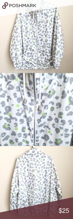 """Liz Claiborne XL Windbreaker Jacket Animal Print This is a Liz Claiborne Cheetah print windbreaker jacket  White, grey and pops of green  Womens size XL  Zipper front with pockets, elastic waist and wrists  Excellent condition   Measurements taken while laying flat: 19"""" Shoulder to shoulder 27"""" Chest 24"""" Sleeve 29"""" Length 22"""" Waist Liz Claiborne Jackets & Coats"""