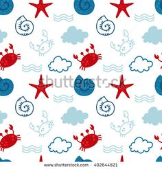 Cute Hand Drawn texture, marine theme design. vector seamless pattern. For birthday, anniversary, party invitations, scrapbooking, T-shirt, cards. Vector illustration.