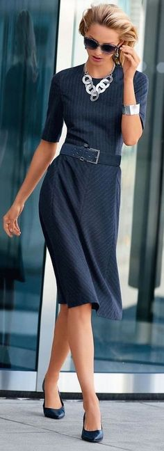 Navy Dress Office Style by Fashion Chalet
