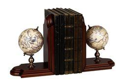 Serre-livres globe terrestre & globe céleste
