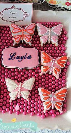 Butterflies Baptism Party cookies!  See more party planning ideas at CatchMyParty.com!