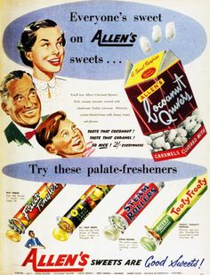 Allens sweets ad, I'd forgotten all about Coconut Quivers, they were good!