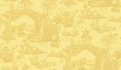Oriental Toile (W615-08) - Sheila Coombes Wallpapers - A pretty sand yellow wallcovering depicting the classic Oriental toile with a temple on a bridge over water, with traditional figures. Please request sample for true colour match.