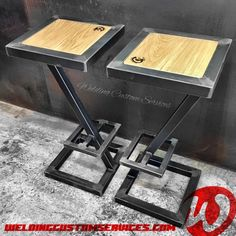 Stool bar design steel and wood industrial made to image 3 Industrial Wall Shelves, Industrial Office Design, Industrial Design Furniture, Industrial Chair, Welded Furniture, Steel Furniture, Bar Furniture, Designer Bar Stools, Diy Welding