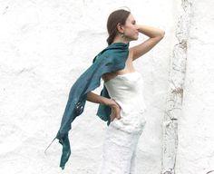 Teal shawl scarf for all seasons felting wool luxury by Baymut, $99.00
