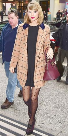 21 Chic Celebrity Looks That Have Us Saying Yes to Tights | InStyle.com Taylor Swift traded in basic black tights in favor for fun polka-dot printed ones that she paired with a LBD, a plaid camel coat, her maroon Aldo bowling bag, and Oxford booties.