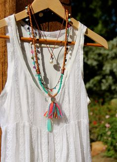 Long Multicolor Tassel Necklace with Sandalwood and Russian Amazonite, Yoga Ohm Hammered Sterling Pendant, Boho Chic Colorful Layering Piece