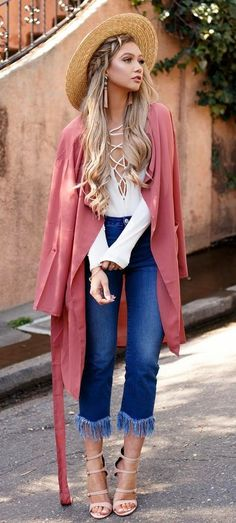 what to wear with a cardigan : hat + lace up top + jeans + heels