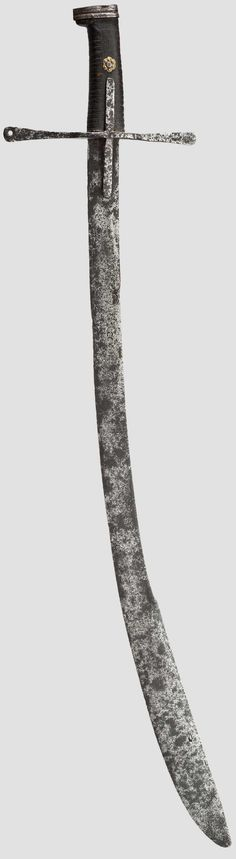 Broad, curved blade with distinct yelmen, the obverse struck with deep crescent-shaped mark. Broad quillons slightly widened and flattened at the ends, with long languet. Leather-covered grip wit ...