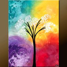 BEAUTIFUL SOLITUDE - Abstract Tree Art Painting on Canvas 18x24  Original by Destiny Womack, aka dWo, $69.00