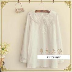'Fairyland – Embroidered Peter Pan Collar Blouse'